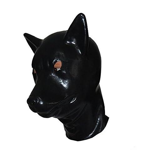 EXLATEX Latex Hood Wolf Tier Gummi Maske Fetisch Zubeh?r mit