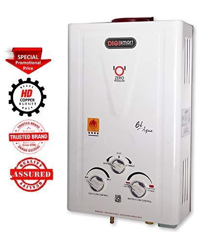 DIGISMART Aqua 100% Copper Tank Instant LPG Gas Water Heater (Ivory)