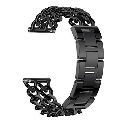 Doppel-weidenkorb (TianranRT Doppel Reihe Cowboy Kette Legierung Watch Band Handgelenk Gurt Für Fitbit Versa Lite (Schwarz))