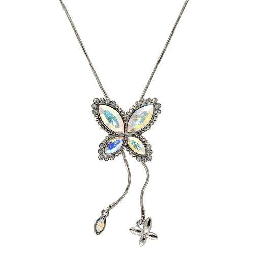 Cristalina Aurora Borealis Swarovski-Kristallen, Marquiseschliff, Glaskristall, Schmetterling, Wickelkette + 46- von 74 cm lang