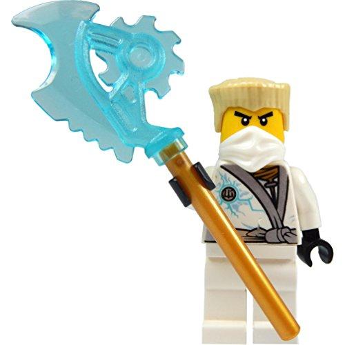 LEGO Ninjago: Minifigur Zane - Rebooted (weisser Ninja) mit blau-transparenter (Ninja Klingen)