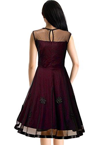 MIUSOL Abendkleid Mesh Brautkleid Retro Cocktailkleid Rockabilly Party 50er Jahr Kleid Weinrot - 2