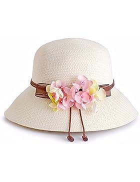 Sombrero de Paja playa Hat sombrero para el sol Protección solar sombrero pescador flor sombra dama moda ajustable...