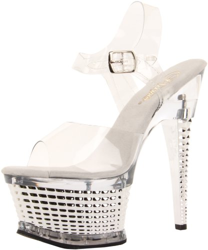 Pleaser ILLUSION-658 Damen Plateau High Heels Clr/Slv Chrome