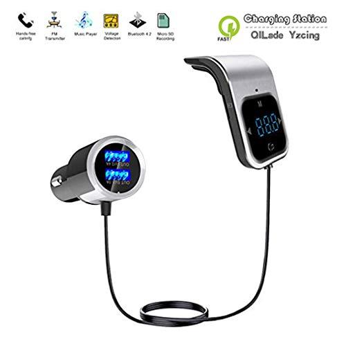 QILade Yzcing Bluetooth FM Transmitter für Auto, Lüftungsschlitz Kabelloser Bluetooth 4.2 FM-Radiosender-Adapter Car Kit mit Freisprechfunktion und doppeltem USB-Autoladeanschluss