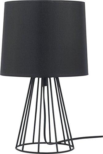 Moderne Tischlampe Schwarz 32cm Trichter Stoffschirm Lampengestell Metall E27 Nachttischlampe Beistelltisch Beleuchtung Tischleuchte - Modern Geformte Beistelltisch