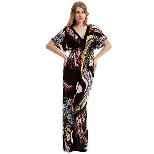 Hrph Mode Féminine Maxi Long Robe de Plage V-cou Robe Bohême Imprimé Fleur Epongeant Courts Manches Robe en Soie Glace Voyage Soirée Party M-6XL #6