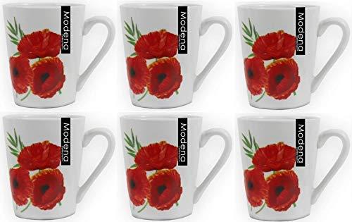 Ensemble de 6 en Porcelaine Blanche Tasses avec Motif Coquelicots Tasses Café Set