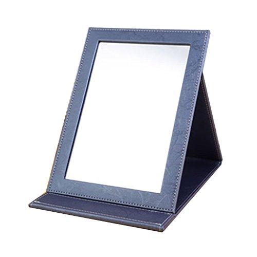 Spiegel - Falzen PU Leder High-Definition-Make-up-Spiegel Single-Side einstellbare Square tragbaren Spiegel Beauty Make-up-Spiegel zu Fuß Stand begrüßen (Farbe: Blau) (Tri-fold Blues Schwarz Leder)