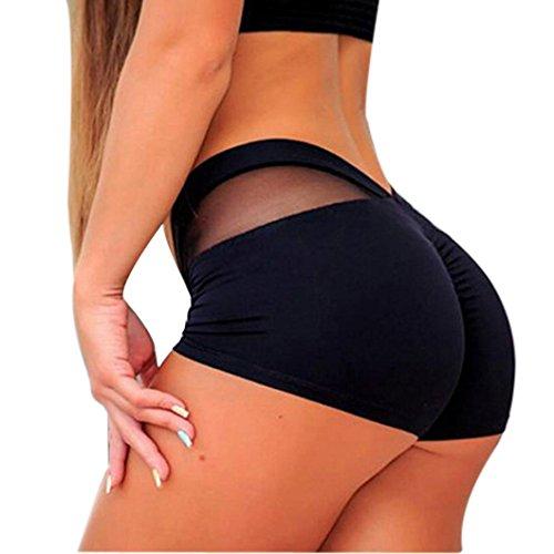 Nuevo!! Pantalones Cortos De Entrenamiento De Malla para Mujer Running Pantalones Cortos De Yoga (M, Negro)