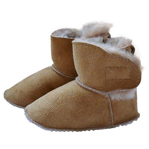 Baby Lammfellschuhe - MIT KLETTVERSCHLUSS Krabbelschuhe Lauflernschuhe Schuhgröße EUR 16/17, Farbe Honig