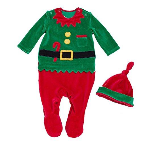 Decstore Bambino 2pcs Natale Costume Babbo Pagliaccetto Pigiama Footed Attrezzatura con cappello(Green 66cm)