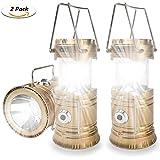 fdgcvxcv 2 Packung Solar Camping Licht, HLZDH verfügbar Wiederaufladbare LED Camping Laterne und Taschenlampe Tragbar für Outdoor, Camping etc, Faltbare, Streckbare Lampe (Gold)