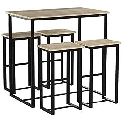 SoBuy® OGT15-N Set de 1 Table + 4 Tabourets Ensemble Table de Bar Bistrot + 4 Tabourets de Bar avec Repose-Pieds Table Haute Cuisine Mange-Debout