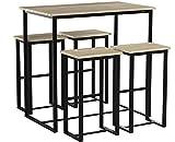 SoBuy Set 5 Pezzi Tavolo con 4 sgabelli, Set di mobili da Balcone,Altezza 96 cm. OGT15-N,IT