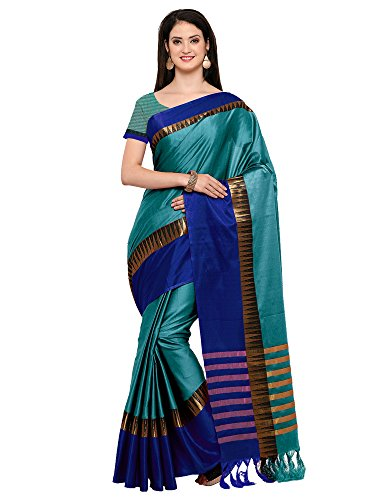 Mrinalika Fashion Women'S Cotton Silk Saree With Blouse Piece (Blue_Kvs131D_Free Size)