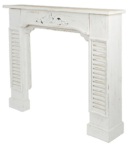 Chimenea umrandung Chimenea Consola rústico barroco estilo Shabby Chic, color blanco envejecido...