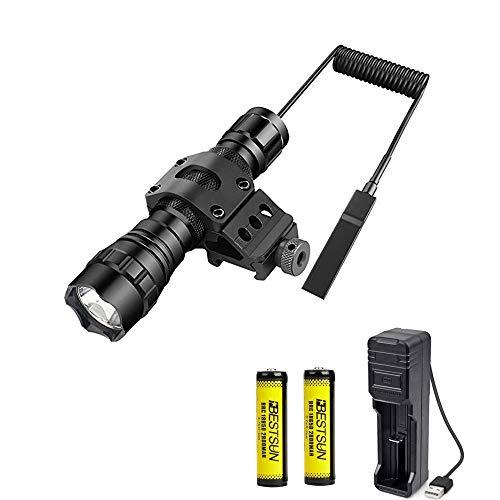 Lampe torche tactique LED 1200lm Super Brillant Torche Pour Hunting Avec interrupteur à pression, 45° Picatinny Mount, 2 piles rechargeables