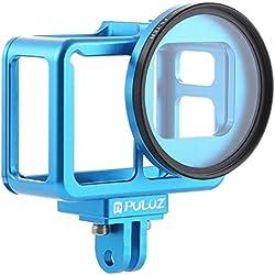 PL pour GoPro Hero(2018) Case Frame en Alliage D'aluminium De Protection Cage De Logement + 52mm UV Filter Lens Et Cap pour GoPro Hero(2018) 7 Black 6 5 (Color : Blue)