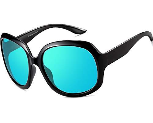 ATTCL Damen Polarisiert Groß Sonnenbrille 100% UV400 Schutz (Blau 3113)
