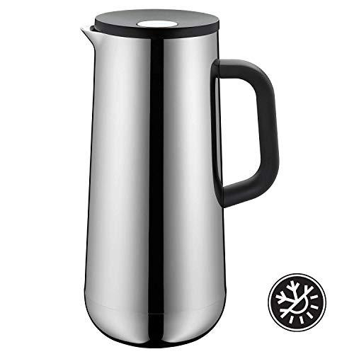 WMF Isolierkanne Thermoskanne Impulse Cromargan Edelstahl, 1,0 l, für Kaffee oder Tee Druckverschluss hält Getränke 24h kalt und warm