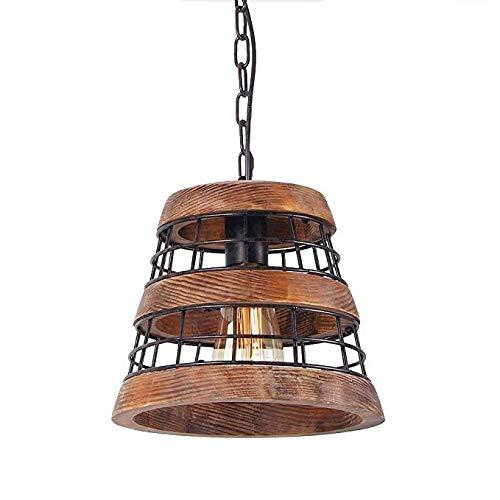 Hmxgm Holz und Metall Kronleuchter Eisen Net Frame rustikale Kronleuchter Beleuchtung Metall Pendelleuchte Retro Deckenleuchte oder Edison Vintage hängende Leuchte,220v