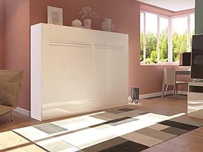 Cama plegable de 140cm horizontal color blanco frente brillante cama plegable & cama de pared SMARTBett con colchón de muelles embolsados