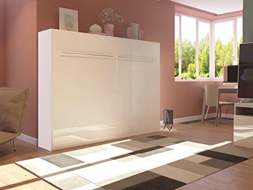 Schrankbett 140cm Horizontal Weiß Hochglanzfront SMARTBett mit SMART Punkt Kaltschaummatratze 140x200cm, ideal als Gästebett - Wandbett, Schrank mit integriertem Klappbett, Sideboard