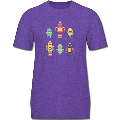Up to Date Kind - Bunte Roboter - 128 (7-8 Jahre) - Lila Meliert - F130K - Jungen Kinder T-Shirt -