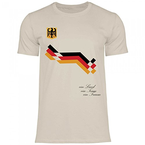 Royal Shirt df2 Herren T-Shirt Deutschland Germany Flagge Adler | WM Em Fußball Trikot, Größe:M, Farbe:Sand