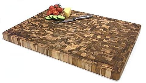 Étal / Planche à découper professionnelle en bois de bout de teck massif