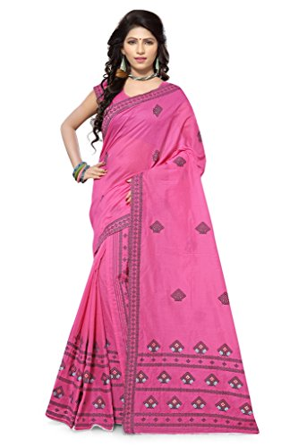 S. Kiran's Women's Assamese Weaving Chanderi Mekhela Chador - Pink Mekhla Sador