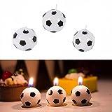 Lumanuby 3X Fußball Deko Kerze aus Paraffin Kerzen für Geburtstag Party/Feier oder Geschenk für Fußballliebhaber 2.4 * 2.4 * 2.4cm, Kerze Serie