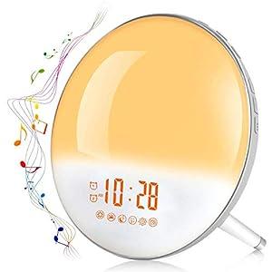 Lichtwecker Radio Wecker Kinder Nachtlicht LED Nachttischlampe mit 2 Alarme/Snooze/Schlafhilfe/Sonnenaufgang/Untergang-Simulation/7 Wecktöne/FM Radio, 20 Lichthelligkeiten/16 Volumen einstellbar