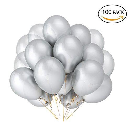 Luftballons 12 Zoll verdicken Latex Metallic Ballons 100 Stück für Hochzeitsfeier Babydusche Weihnachten Geburtstag Karneval Party Dekoration Lieferungen (Silber) (Schwarz, Weiß Und Silber Dekorationen)