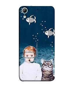 PrintVisa Designer Back Case Cover for HTC Desire 628 :: HTC Desire 628 Dual Sim (Cat swimming Oxygen mask)