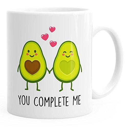 MoonWorks Kaffee-Tasse Geschenk-Tasse Liebe Avocado You Complete me Valentinstagsgeschenk weiß Unisize