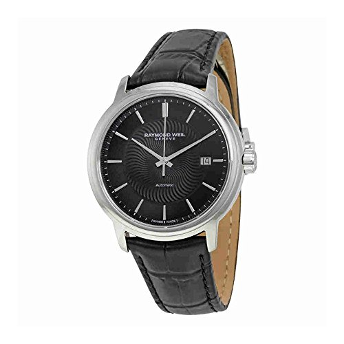 9da181772429 Stainless steel case with a black calfskin croco-embossed leather strap.  Fixed stainless steel bezel. Black dial with silver-tone hands and index  hour ...