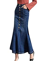 JiaMeng Damen Bodycon Rock Mode Lange Hohe Taille Knopfleiste Vorne Fischschwanz Denim Maxi Röcke