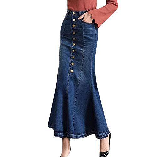 MRULIC Damen Lange Rock Mode Hohe Taille Knopfleiste Fischschwanz Denim Maxi Röcke (Blau,L/Hip:90cm)