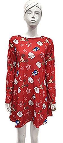 SugerDiva femmes dames filles Noël Imprimer Swing robe Rouge
