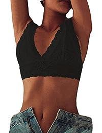 Ropa Interior Mujer Sexy Conjuntos Lencería Sujetador de Encaje Mujer sin Relleno Brasier de Malla Floral Talla…