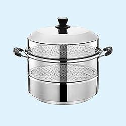 201 en acier inoxydable Steamer/marmite à soupe 2 couches avec des ménages Steamer 30-40cm épaissie Convient for Cuisinière à gaz/Cuisinière à induction Convient for 4-10 personnes (Size : 32cm)