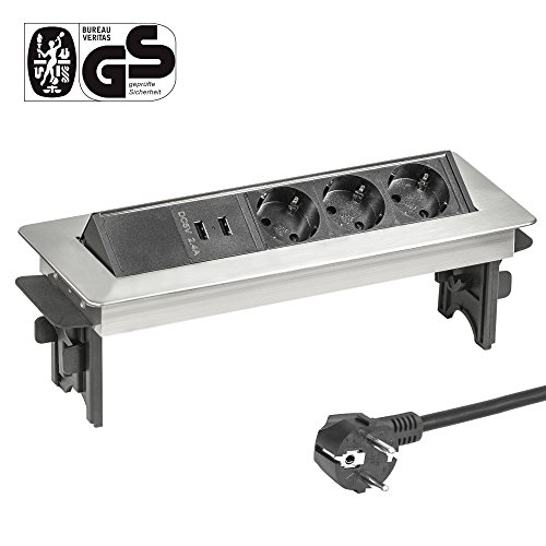 Elbe Prise encastrable plan de travail en acier inox 3 Prises 2 USB Norme allemande Bloc prise escamotable Prise pour plan de travail Multiprise escamotable pour Cuisine Bureau_EL4703UM