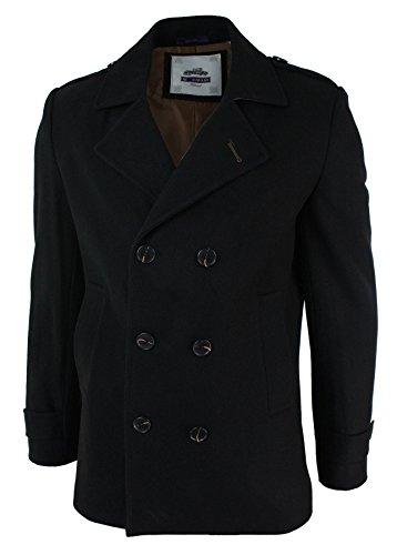 Veste manteau hommes croisé over chauffant hiver marin smart décontracté formel Noir