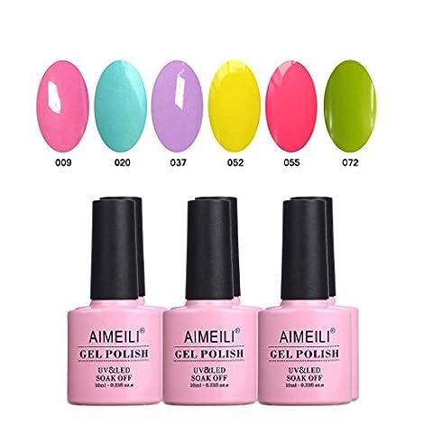AIMEILI Soak Off UV LED Gel Nail Polish Multicolour / Mix Colour / Combo Colour Set Of 6pcs X 10ml (SET6-24)