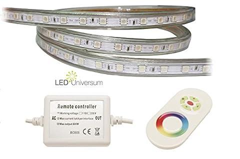 10 Meter Professioneller RGB LED Streifen Set am Stück (60 LED/m, IP68, 230V) mit Controller und