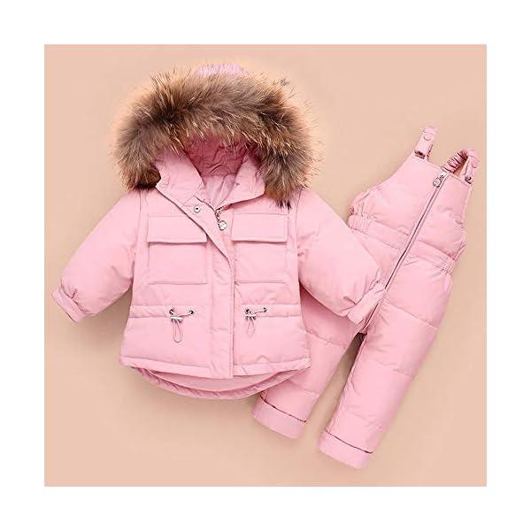 ZYY Snowsuits Niños Bebé Niño Invierno Traje De Nieve Chaqueta Acolchada Abrigo con Capucha Abajo Pantalones para La… 2