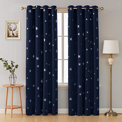 Deconovo tende oscuranti finestre soggiorno termiche isolanti stelle stampate con occhielli 140x260cm blu navy 2 pannelli