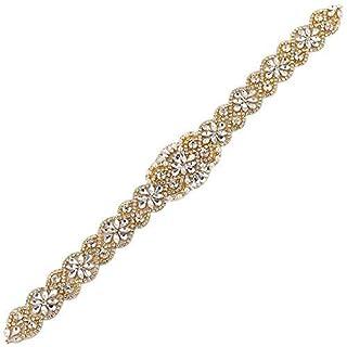 Gold Rhinestone Applique Wedding Bridal Belts and Sashes for Dress Crystal Bridesmaid Waist Ribbon Belt Pearls Beaded Embellishments Iron on (Gold-018)
